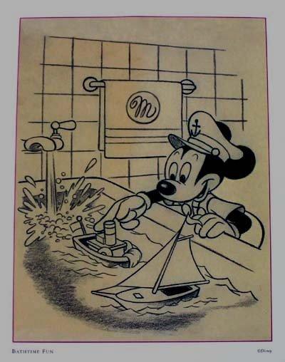 Vintage Disney Mickey Mouse Pencil Sketch Print