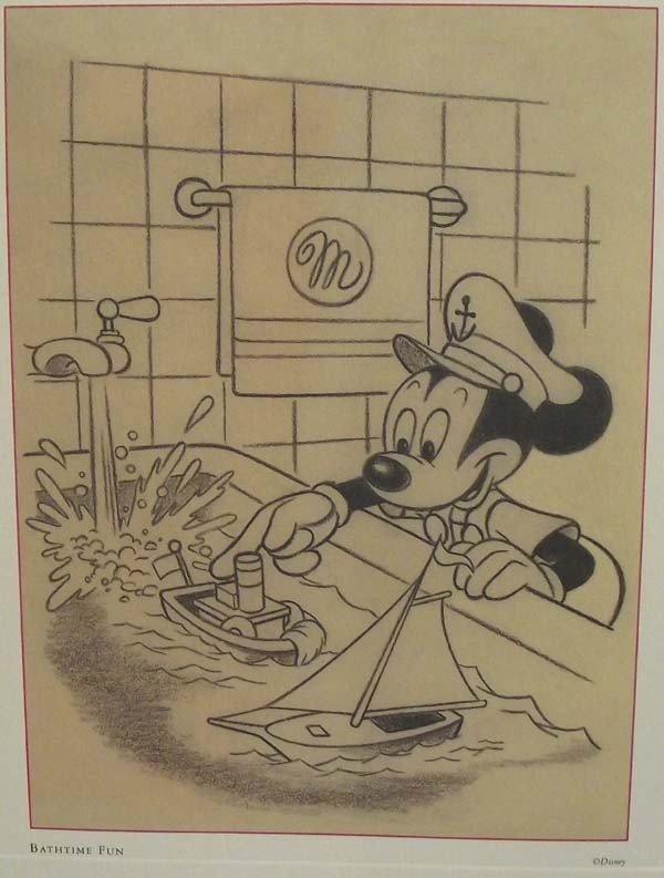 Vintage Disney Mickey Mouse Pencil Sketch Print - 2