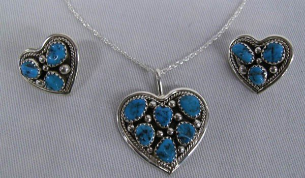 Navajo Silver Turquoise Necklace & Earrings Set