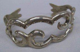 Navajo Sterling Silver Sandcast Bracelet - Begay