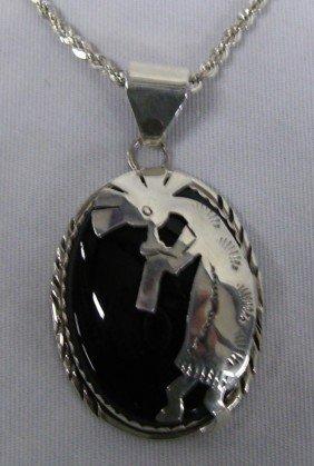 Navajo Sterling Silver Kokopelli Necklace, Signed