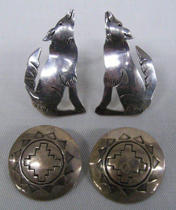 Navajo Sterling Silver Earrings, 2 Pair Signed