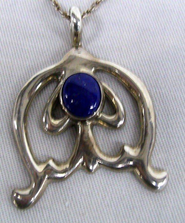 Navajo Linda Marble, Lapis Pendant Necklace