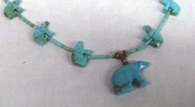 Navajo Turquoise Bear Fetish Necklace