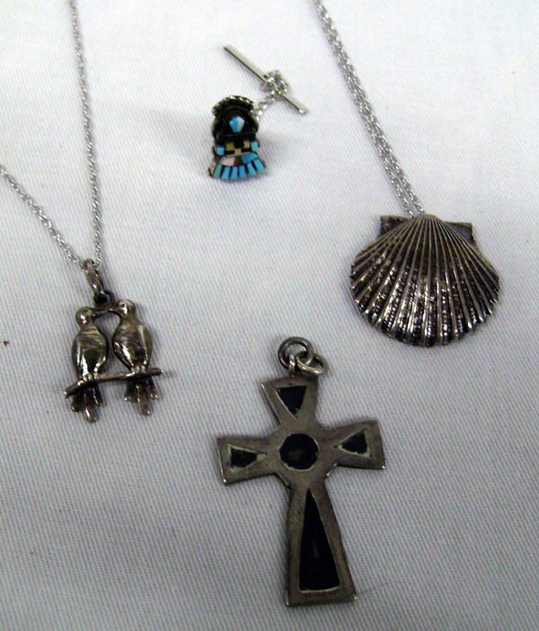 Group of Sterling Necklaces & Zuni Tie Tack, 4 pcs