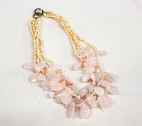 Fresh Water Pearl Rose Quartz Necklace