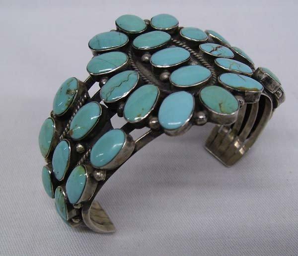 Navajo Sterling Turquoise Cluster Bracelet
