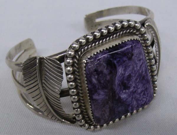 Navajo Sterling Silver Charoite Bracelet