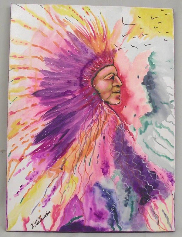 Original Painting, Kills Thunder ''The Chief''