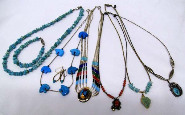 Collection of 6 Necklaces, Bracelet, Earrings