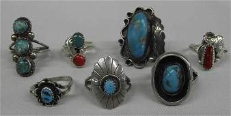 Navajo Silver Coral  Turquoise Rings Collection