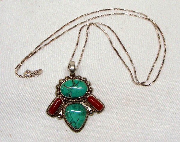 Navajo Turquoise Coral Sterling Pendant