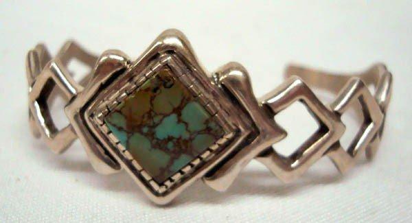 Navajo Sand Cast Turquoise Bracelet