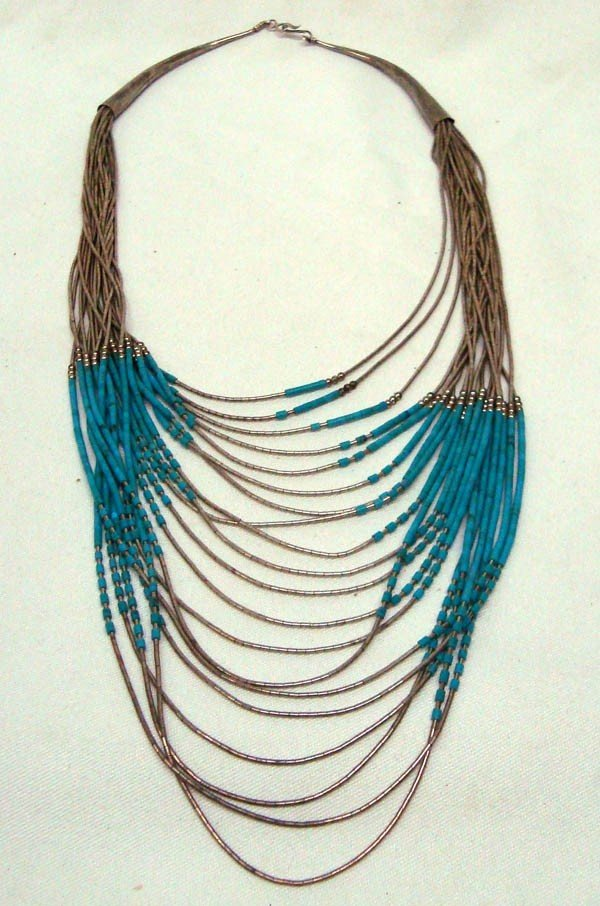 18 Strand Liquid Silver & Turquoise Heishi  Necklace