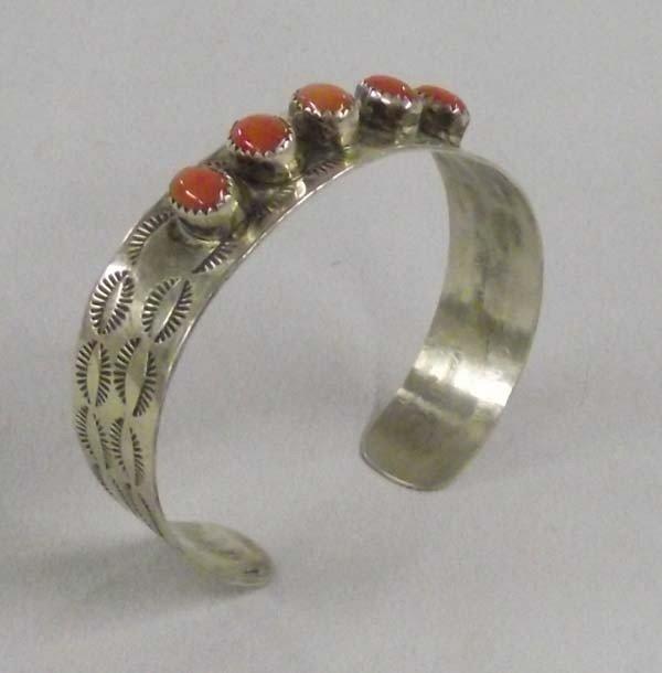 Navajo Sterling Coral Cuff Bracelet Hallmark DH