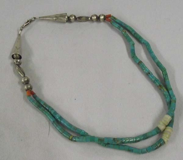 Navajo Double Strand Turquoise Shell Necklace
