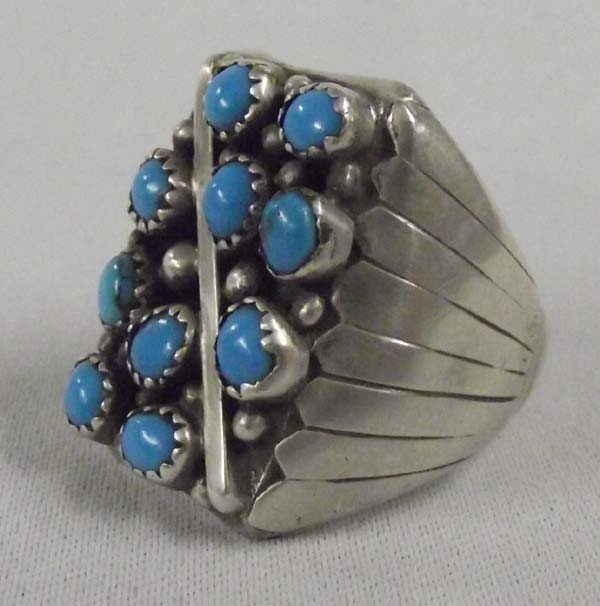 Zuni Petti Point Sterling Turquoise Ring Size 12