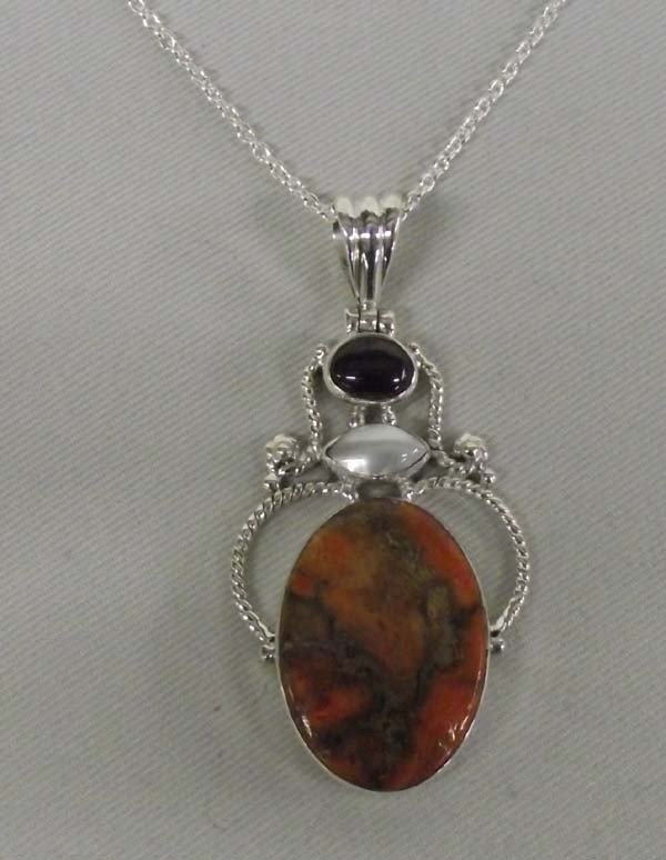 Orange Copper Agate Pendant Sterling Necklace