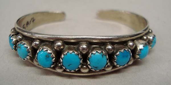 Navajo Child's Sterling Turquoise  Bracelet