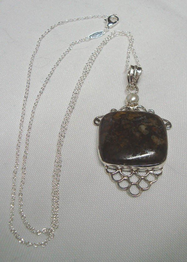 Ocean Jasper Sterling  Pendant Necklace