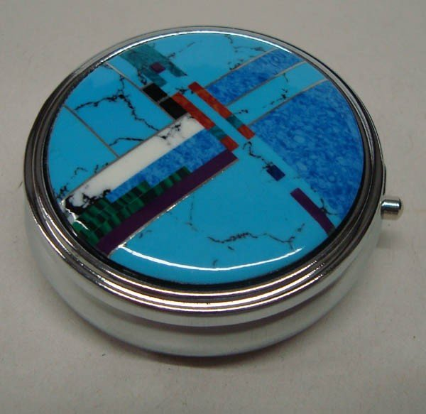 Turquoise and Misc Stone Inlay Pill Box