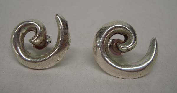 Navajo Sterling Sandcast Pierced Earrings