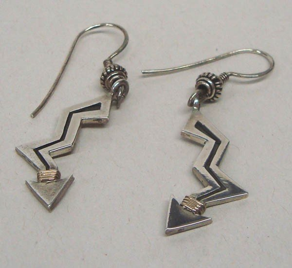 Navajo Sterling Lightning Bolt Pierced Earrings