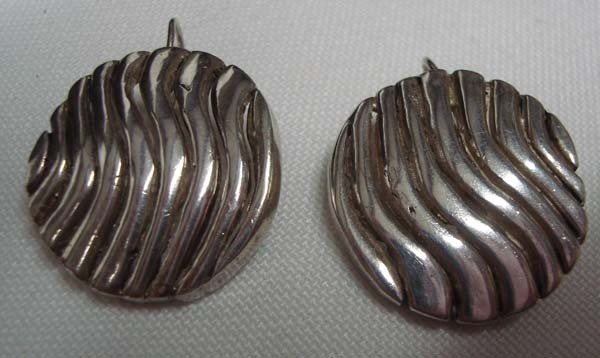 Mexican Sterling Pierced Disk Earrings