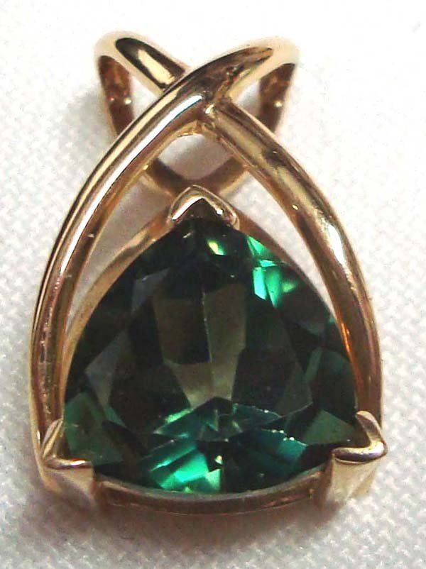 Green Topaz and 14K  Gold Pendant