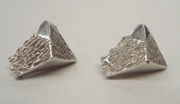 Sterling Silver Pyramid Shaped Post Earrings