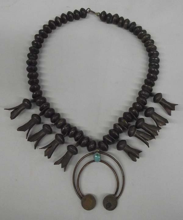 Navajo Indian Head Penny Squash Blossom Necklace