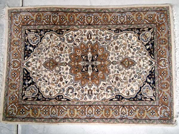 Vintage Persian Kirman Wool Rug