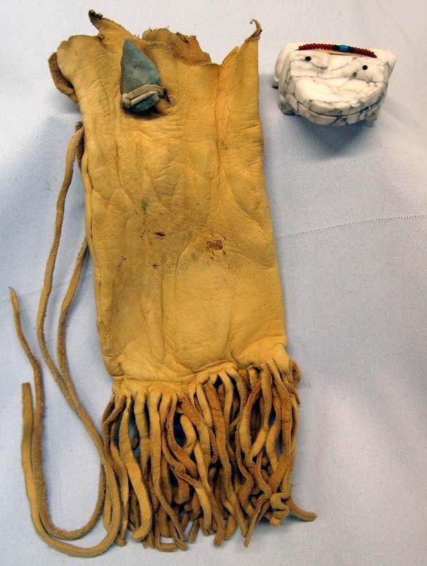 Navajo Alabaster Frog Fetish & Doe Skin Fetish Bag