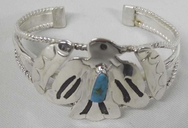 Navajo Sterling Turquoise Bird Bracelet
