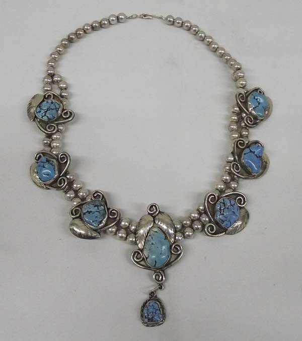 1960 Navajo Sterling Turquoise Necklace