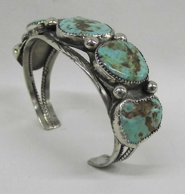 Navajo Nickel Silver Turquoise Bracelet
