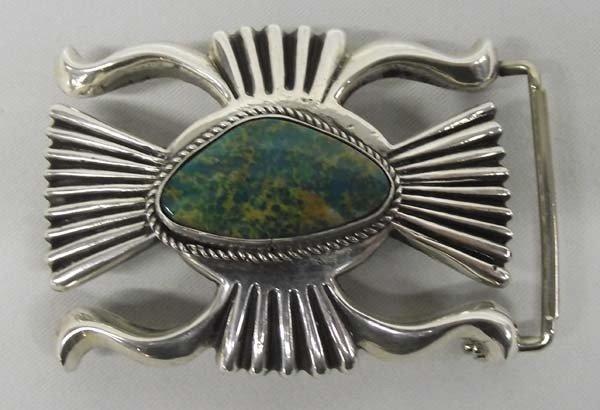 Navajo Sterling Silver Sandcast Belt Buckle - WBH