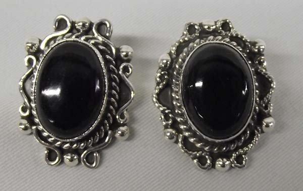 Mexican Sterling Onyx Pierced Earrings