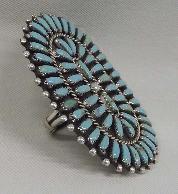 Zuni Sterling Turquoise Petit Point Ring - ByJoe