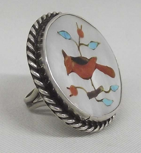 Zuni Sterling Bird Stone to Stone Inlay Ring