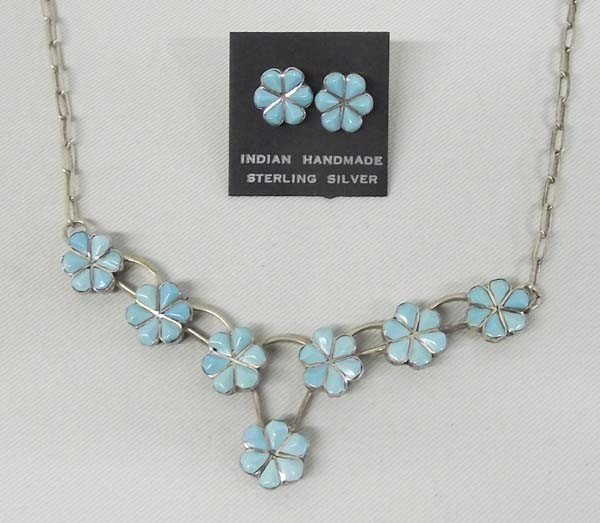 Zuni Sterling Turquoise Necklace & Earrings