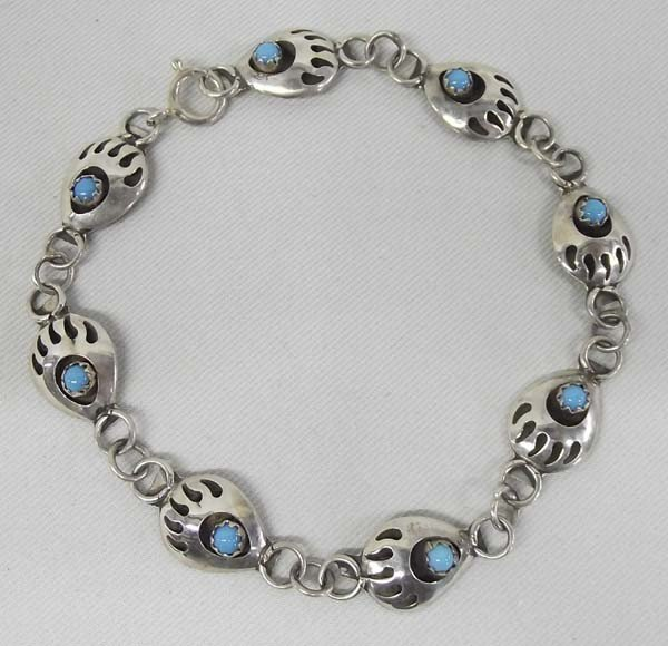 Navajo Bear Paw Turquoise Bracelet