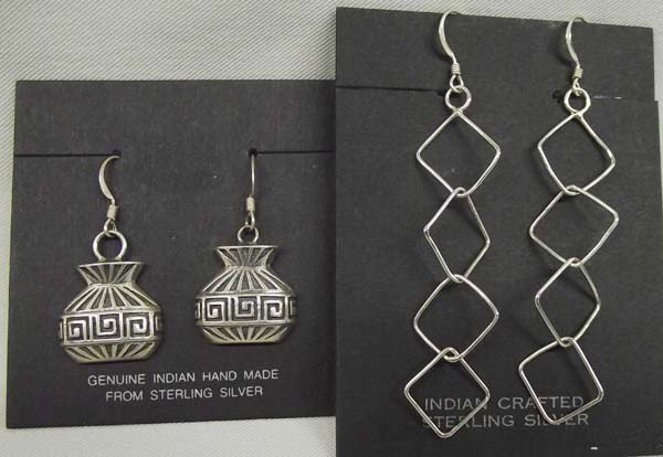 2 Pr Navajo Sterling Pierced Earrings