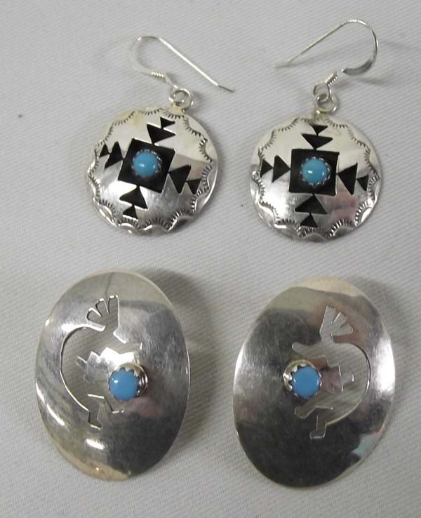 2 Pr Navajo Sterling Turquoise Pierced Earrings
