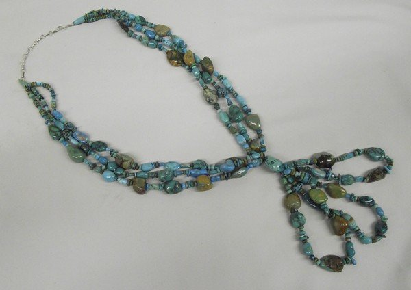 Navajo 3 Strand Turquoise Nugget Necklace