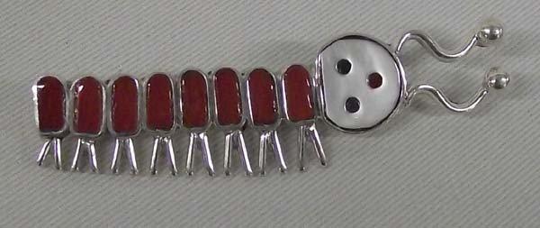 Zuni Sterling Coral Caterpillar Bug Pin