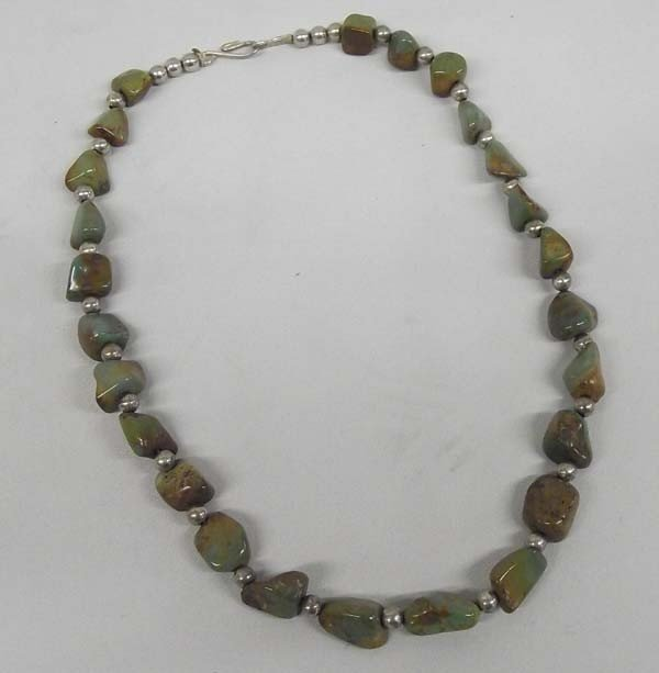 Navajo Polished Green Nevada Turquoise Necklace