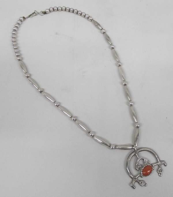 Navajo Sterling Silver Coral Necklace