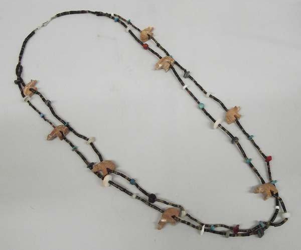 Navajo Bear Fetish Heishi Bead Necklace