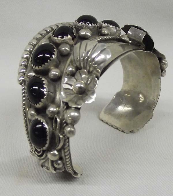 Navajo Sterling Jet Watch Bracelet - Jameson